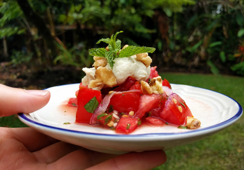 whole_food_plant_based_tomato_mint_salad_plating_hand