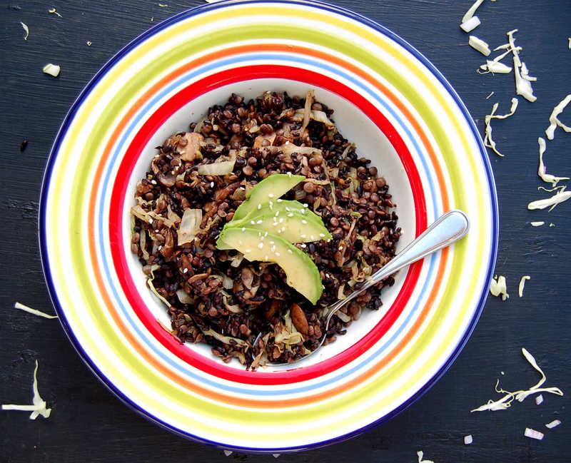 Veggie Fried Black Rice & Lentils