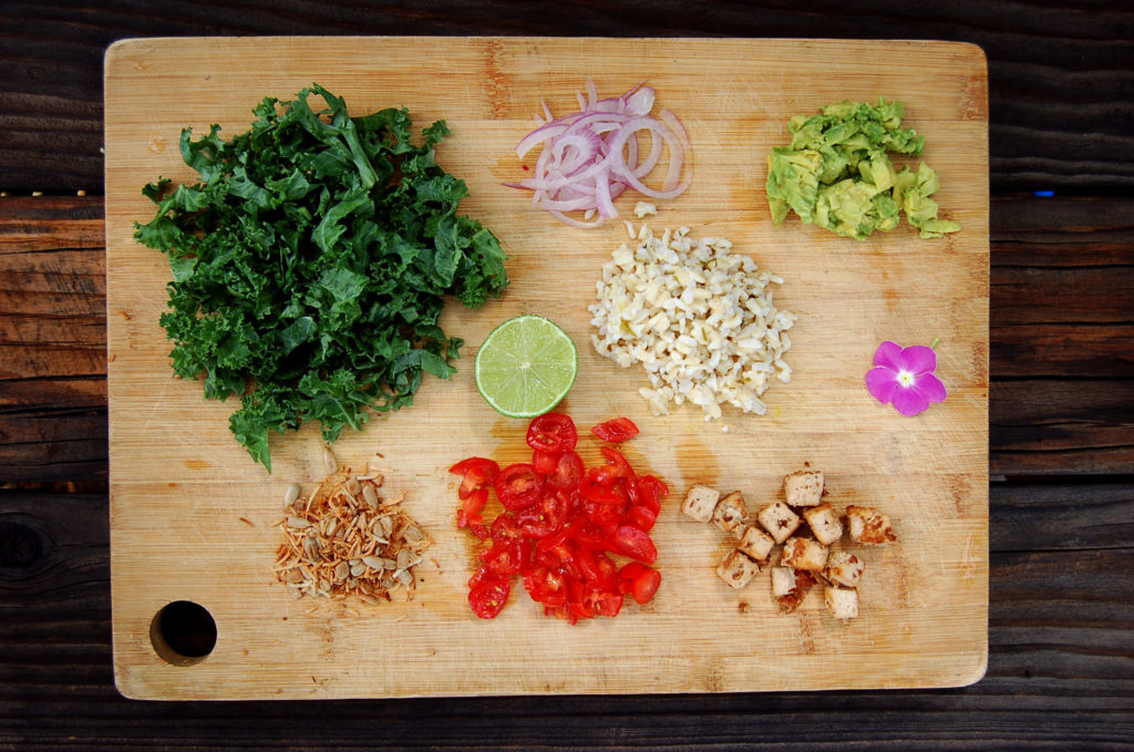 toasted_coconut_kale_salad_ingredeients_cutting_board