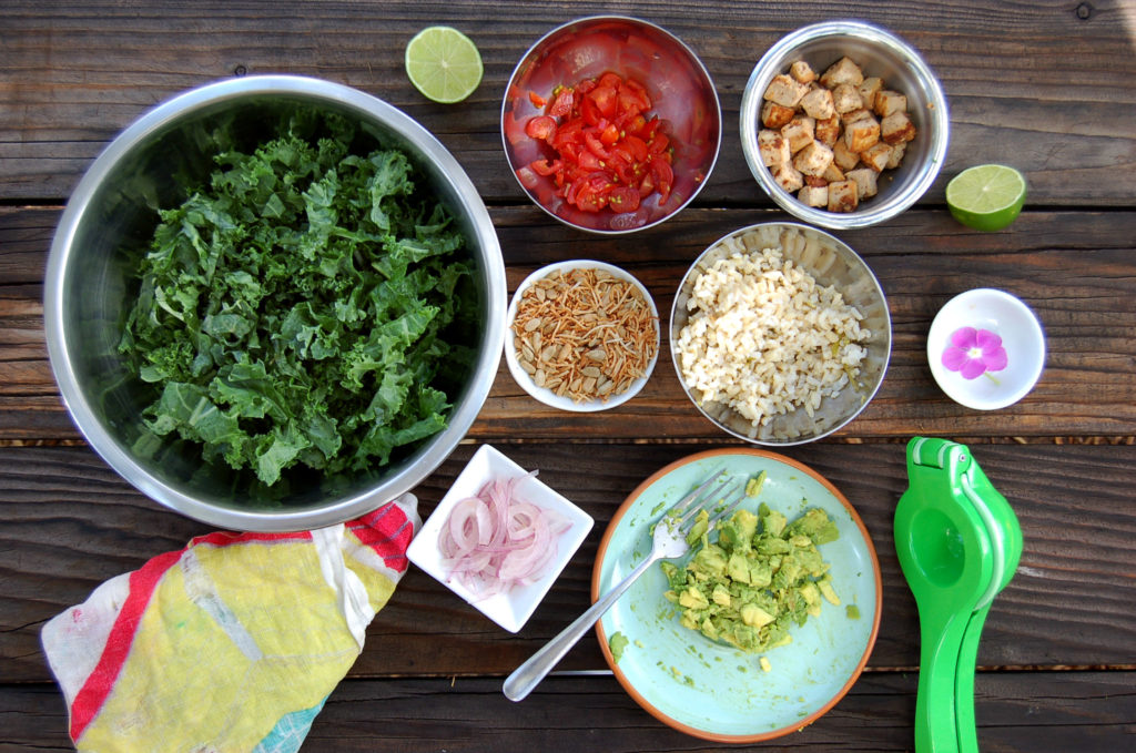 toasted_coconut_kale_salad_coconut_ingredients_on_table