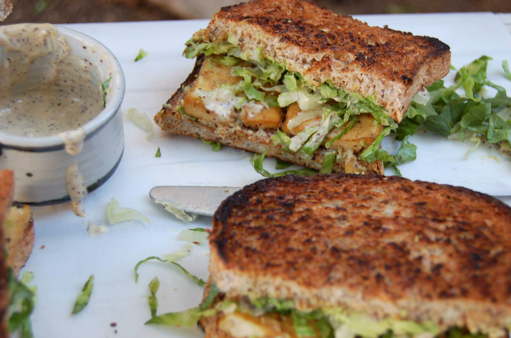 baked_tofu_caesar_sandwich_messy_side