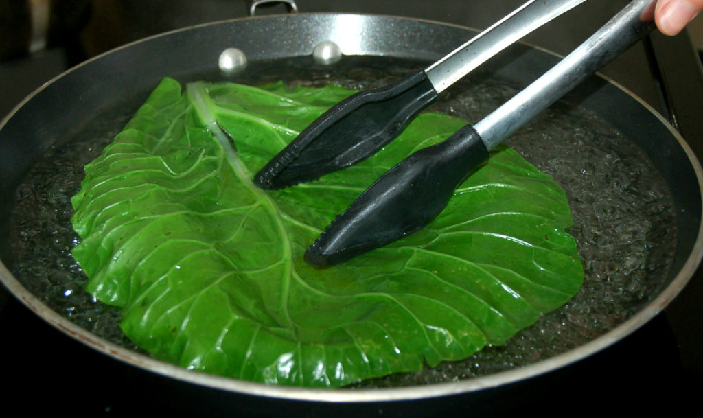 Collard leaf in hot water