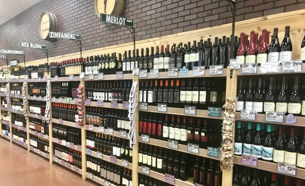 A view of the ample wine selection.