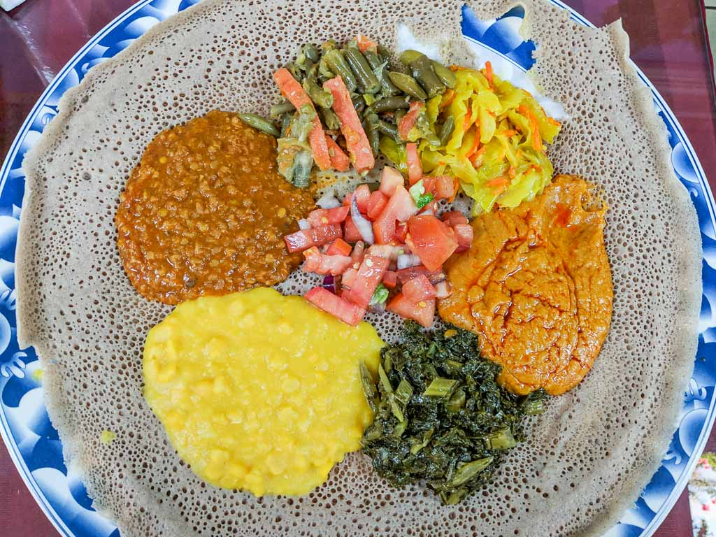 Ethiopian food from Mahider in Salt Lake City, Utah.
