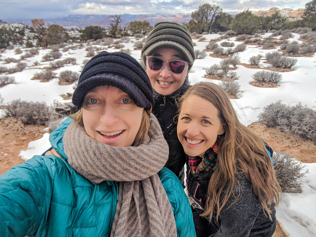 Molly, Luanne and Kellie in Moab after a brisk hike.