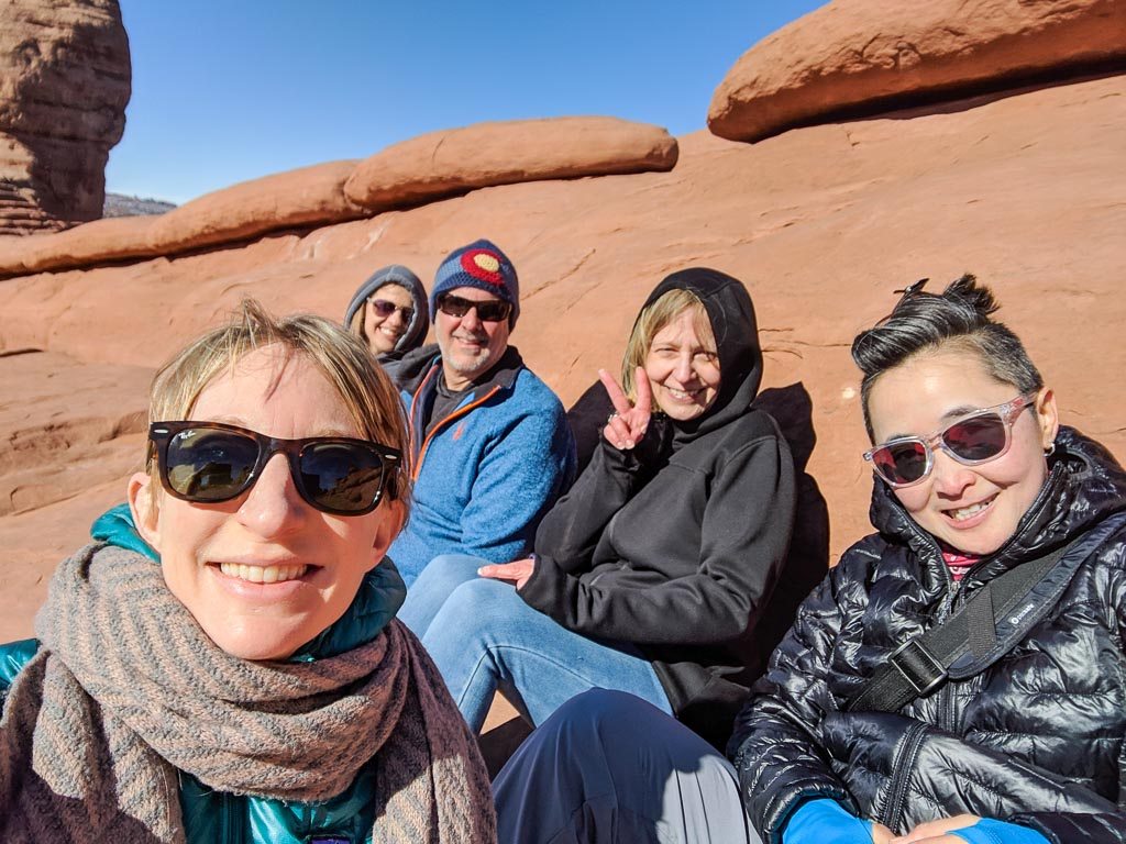 Molly, Kellie, Dennis, Jen, Luanne at Arches National Park.