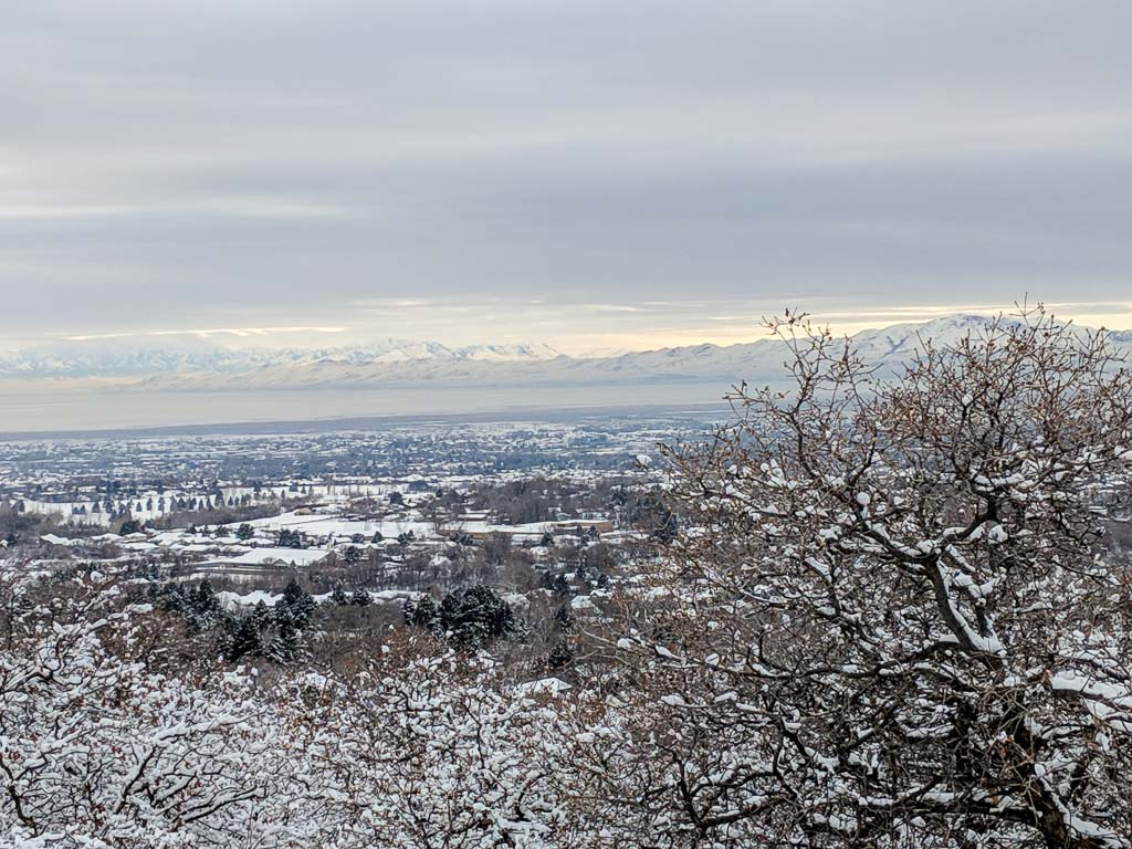 Landscape photo looking over Salt Lake City with mountains in the distance, everything softly covered with snow.