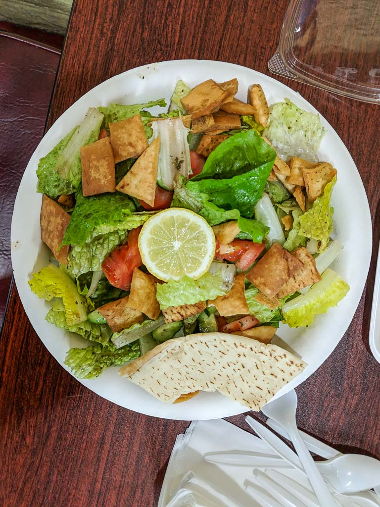 Fattoush salad from Babylon Market in Tucson!