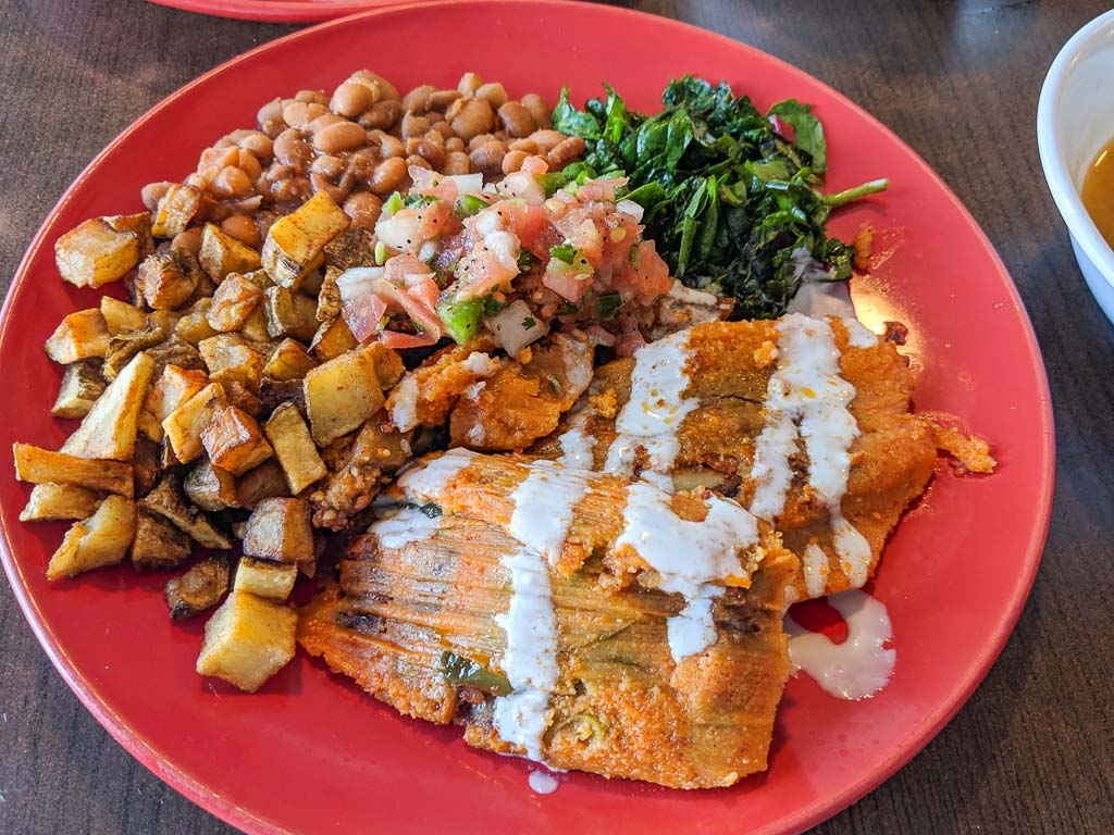 Vegan tamale plate from Turmerico.