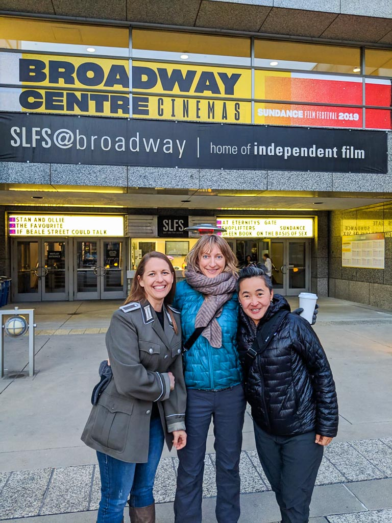 Kellie, Molly and Luanne at the the Broadway Centre Cinemas for the first day of Sundance Film Festival.