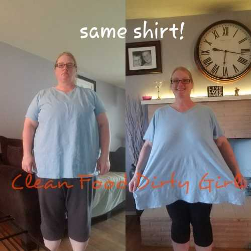Kathy in a before and now picture wearing the same shirt.