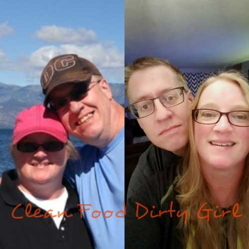 Kathy & David before going plant based together compared to now.