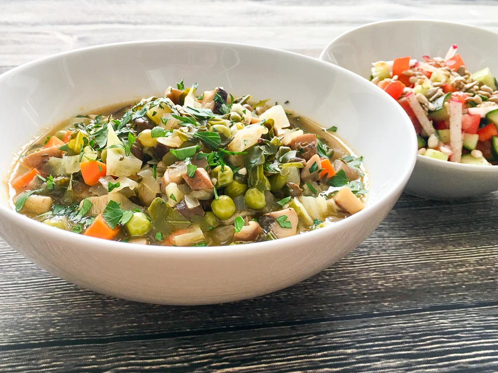 Wild_Mushroom_&_Green_Pea_Broth_Bowl_and_Simple_Chopped_Salad