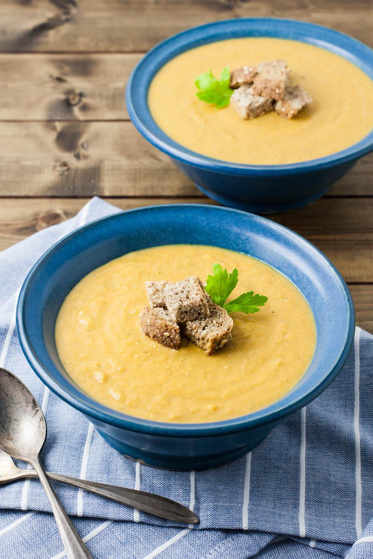celery soup in a bowl