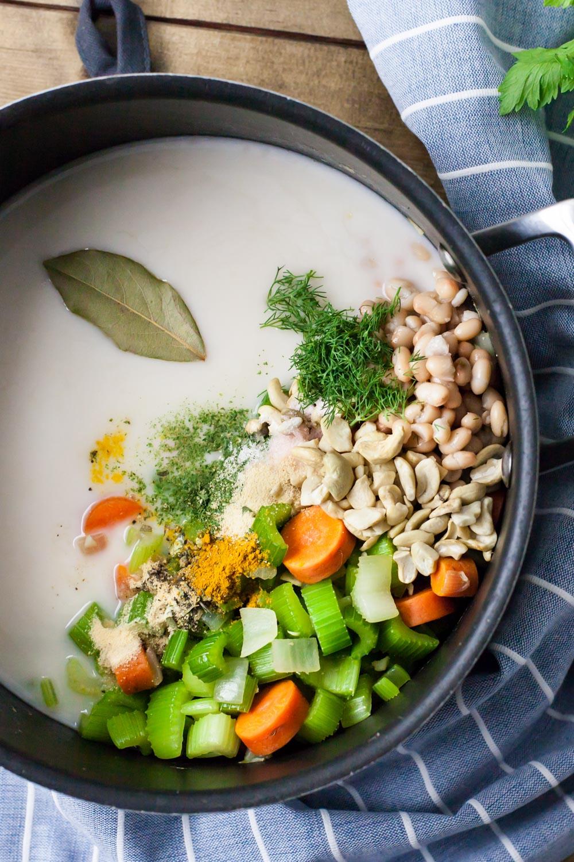 celery soup pot cooking closeup