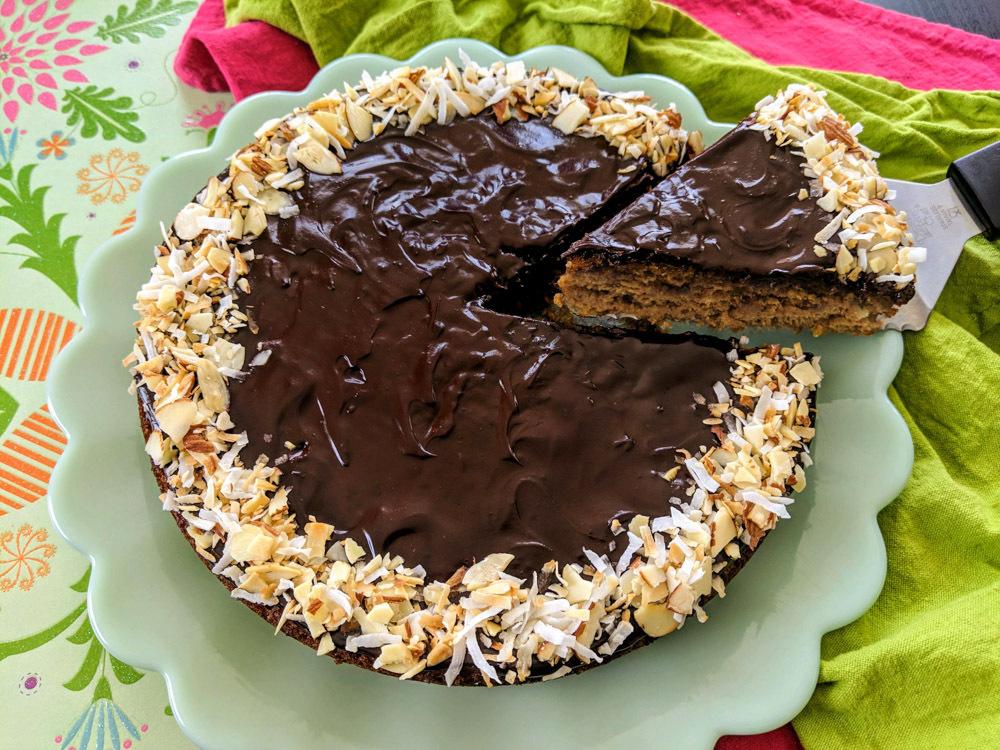 plant based recipe for joyful almond coconut cake with ganache glaze
