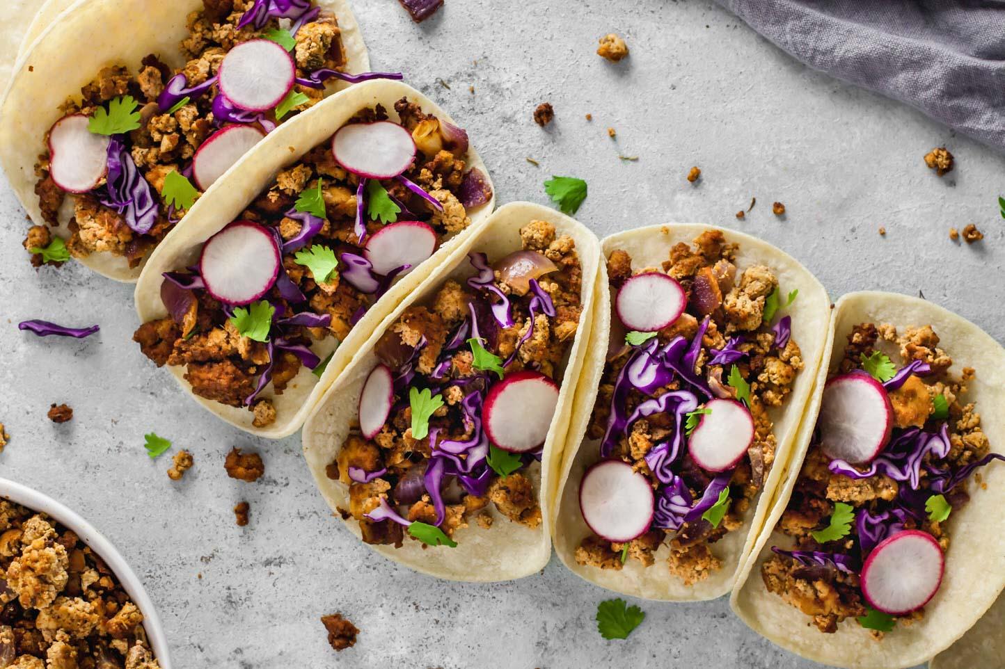 Tofu Chorizo Crumbles tacos