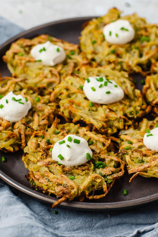 Plant Based Potato & Zucchini Latkes (oil-free)