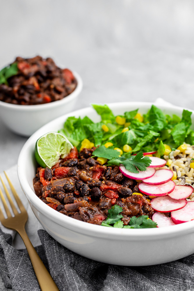 whole food plant based bean bowl