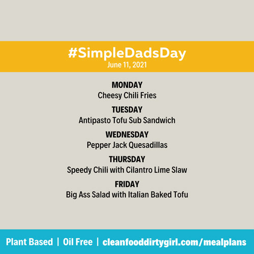 Simple dads day plant based menu