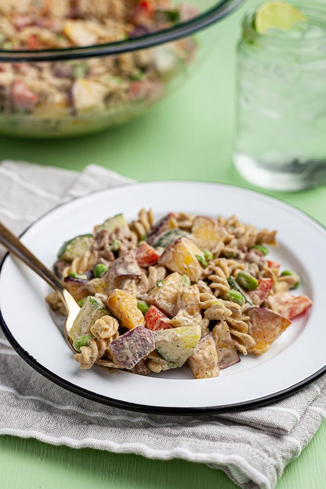 chipotle peach pasta salad dairy free