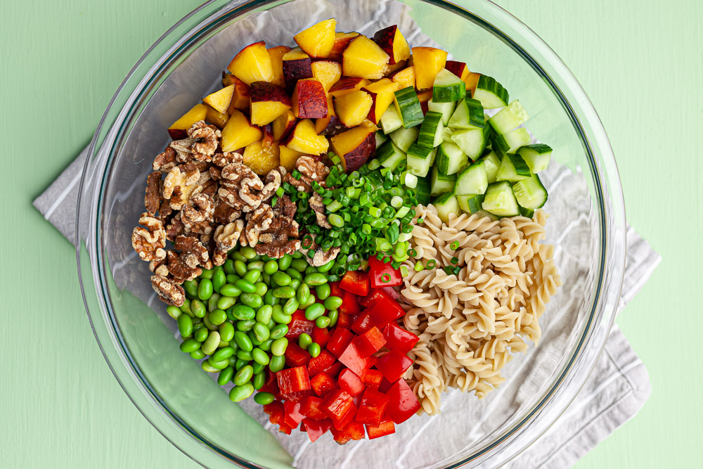 chipotle peach pasta salad assembly