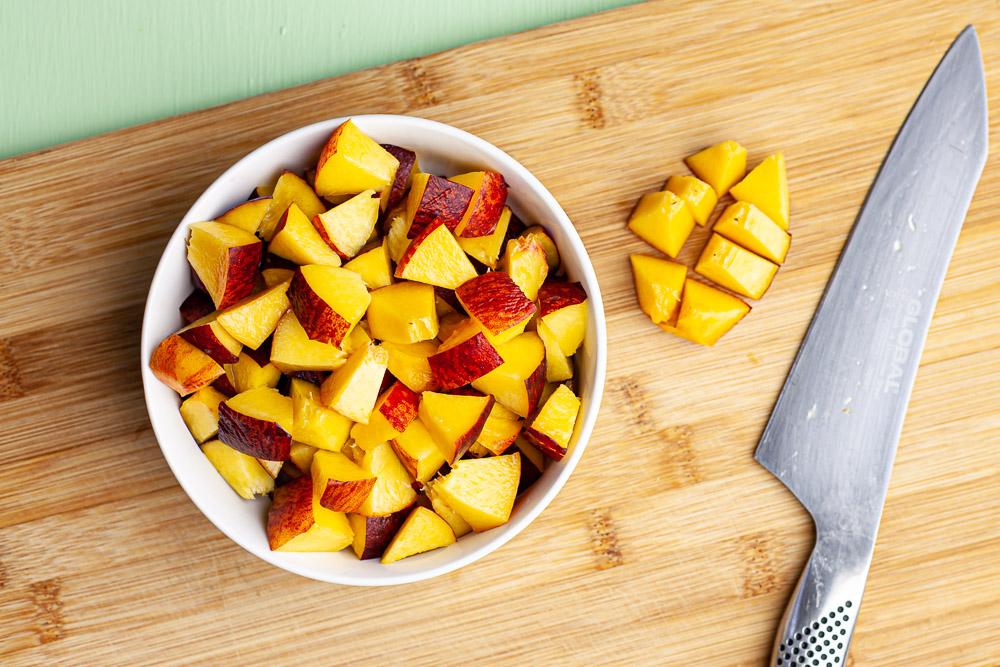 chipotle peach pasta salad chopped peaches