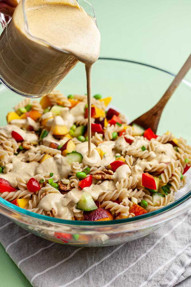 vegan chipotle peach pasta salad