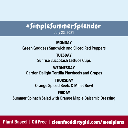Simple Summer Splendor Menu Plant Based Meal Plan