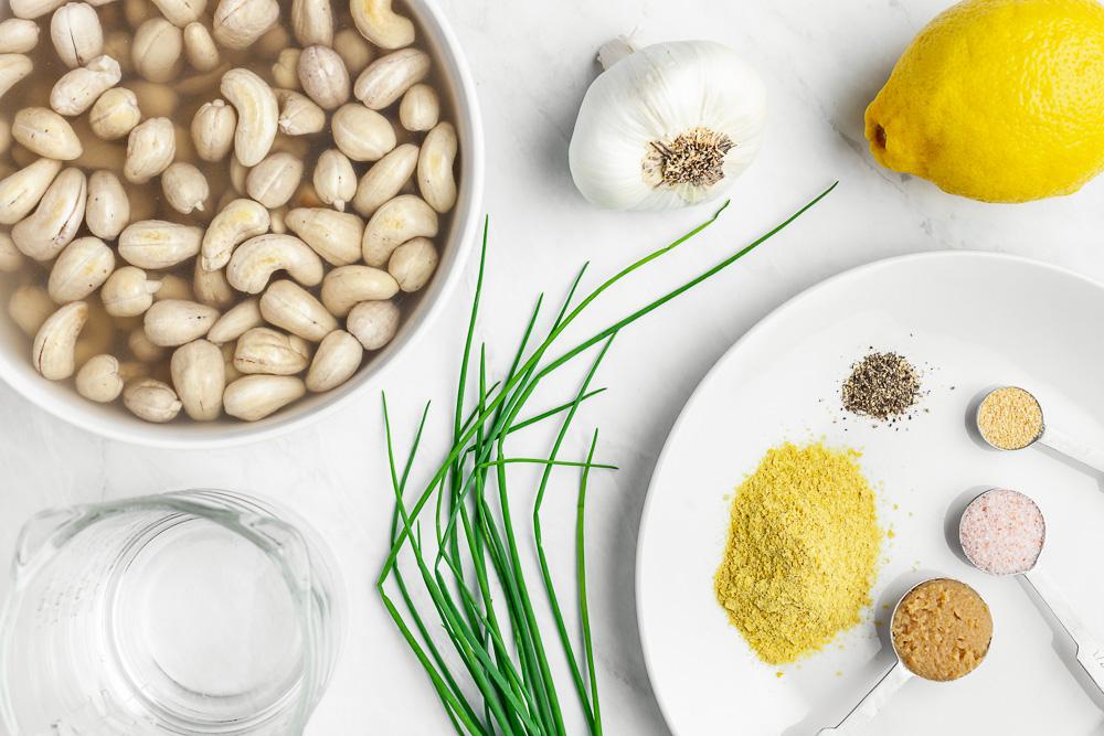plant based garlic and chive cashew cream cheese