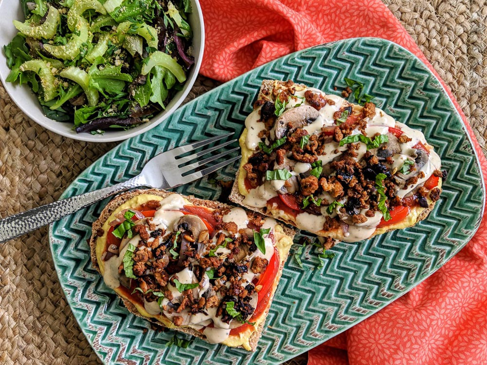 Double Cheesy French Bread Pizzas recipe plant based