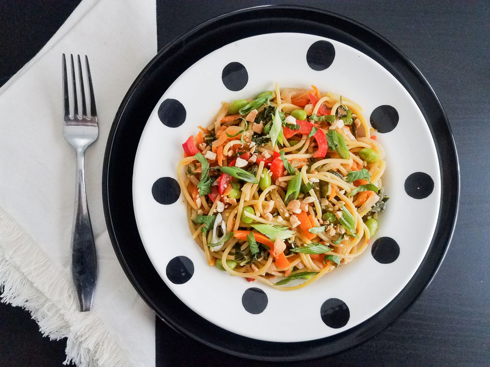 One Pot Garlicky Almond Sauced Noodles recipe plant based