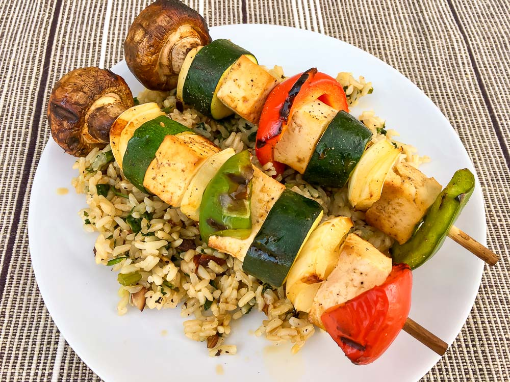 Tofu Veg Kabobs over Rice Pilaf recipe favorite