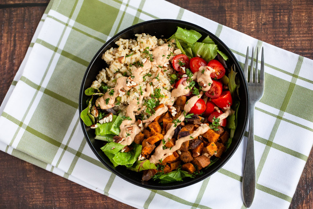 plant based Maple-spiced Sweetie Soul Bowl with Mississippi Comeback Sauce recipe