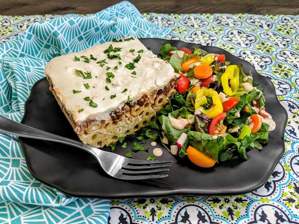 OPA WFPB Recipe Greek Pasta Bake (Pastitsio) and Fresh Green Salad