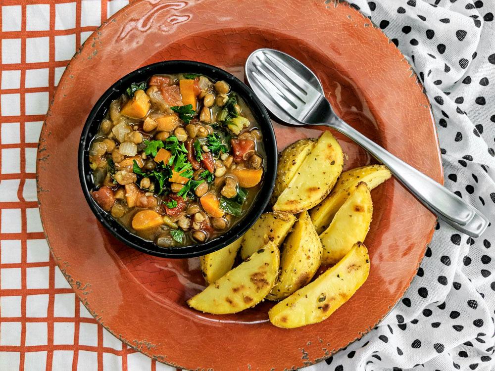 whole food Rustic Greek Lentil Soup (Fakes Soupa) and Lemon Potatoes (Patates Lemonates)