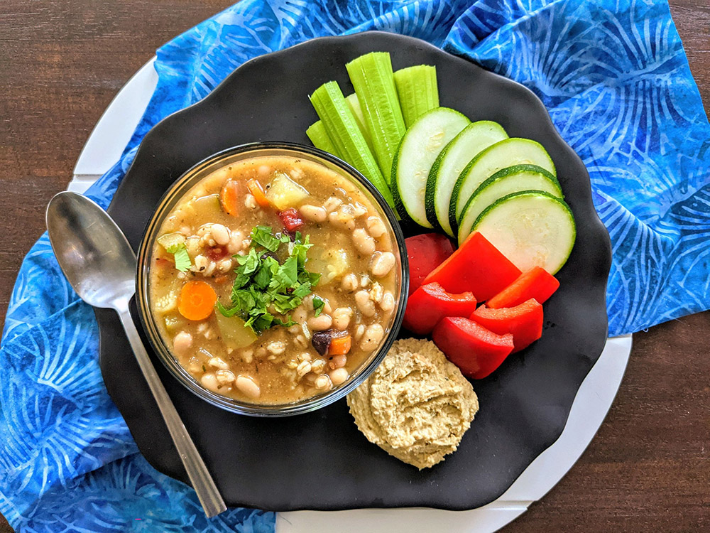 Herby Bean Farro Soup and Veggies Chips Sticks Dip