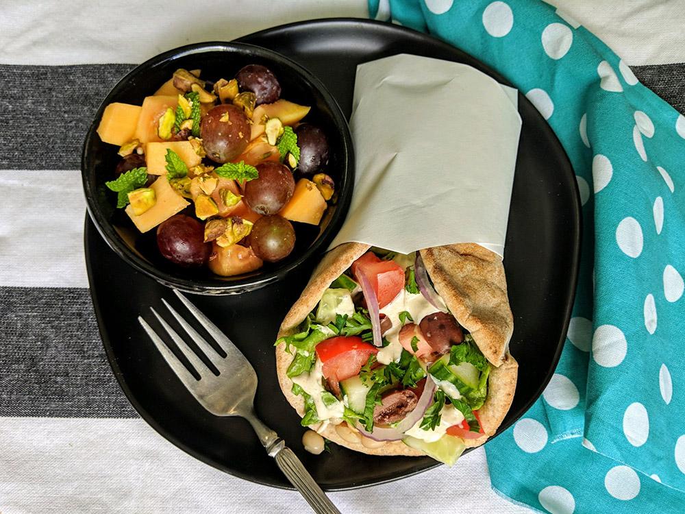 Mediterranean Stuffed Pita Wraps and Minted Papaya Fruit Salad