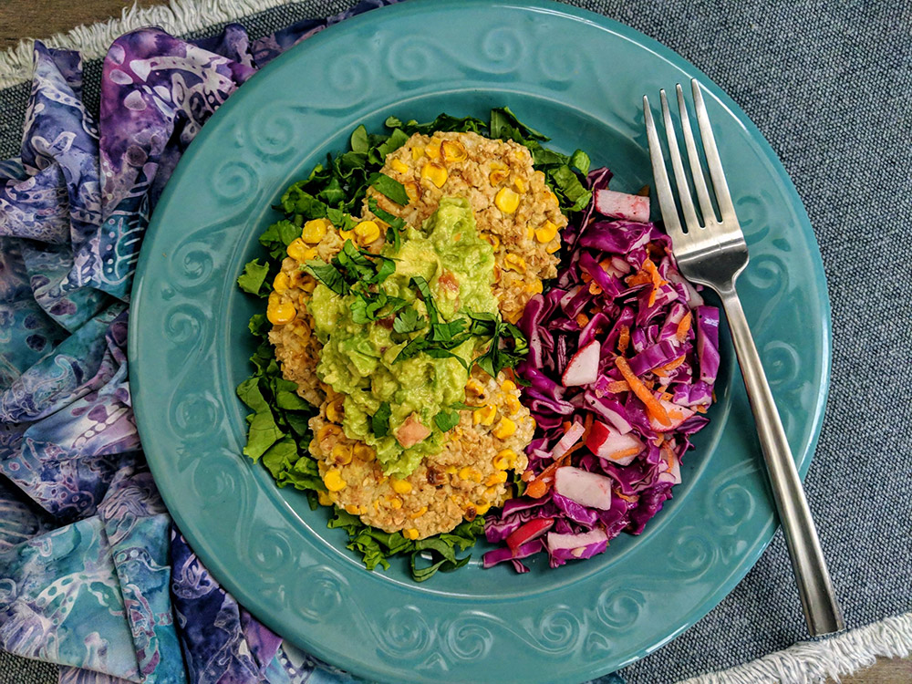 Summer Sweet Corn Fritters with Guacamole and Tangy Red Cabbage Slaw