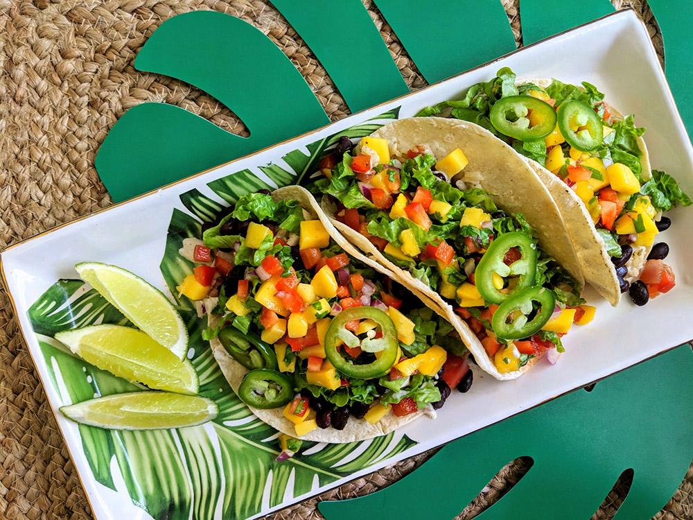 Caribbean-spiced Black Bean Tacos with Mango Salsa